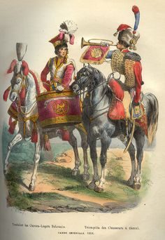 Napoleon_Guard_Horse_Drummer_and_Trumpeter_by_Bellange.jpg (824×1196)