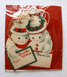 Vintage Package of Snowmen Christmas Gift Tags