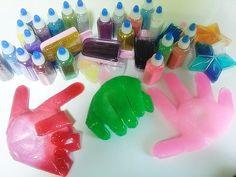 장난감 액체괴물 가위 바위 보 만들기 놀이 - How to make rock, paper, scissors with slime