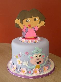 Dora & Boots Topper Cake Cake for the top of a cupcake tower. Dora and Boots are hand cut from fondant/gumpaste. Dora Birthday Cake, Dora Cake, 2nd Birthday, Birthday Ideas, Fondant Cakes, Cupcake Cakes, Decoration Patisserie, Gateaux Cake, Character Cakes