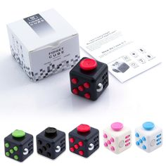 Description:      An unusually addicting, high-quality desk toy designed to help you focus. Fidget at work, in class, and at home in style. Stress relief machine.       How do i use it?      It's simple.Fidget Cube (patent pending) has six sides.Each side features something to fidegt with:      1.Spin      Looking for a circular fidget?Take this dial for a spin.      2.Glide      You don't have to be a gamer to enjoy the unusually satisfying gliding action of this…