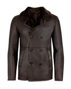 Shearling leather pea coat - Chocolate   Luxury with Personality   Ted Baker UK