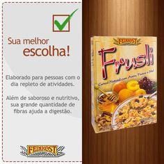 Frusli. Cereal completo, com sabor brasileiríssimo, enriquecido com castanha de caju, damasco, aveia, canela e mel.