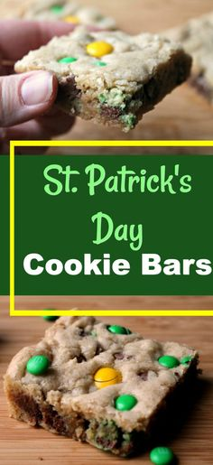 St. Patrick's Day Cookie Bars | I've taken my super popular recipe for Christmas M&M Cookie Bars and easily transformed it into a cookie bar for St. Patrick's Day! Super fun!