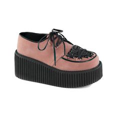 Women's Demonia Creeper 216 Creeper ($67) ❤ liked on Polyvore featuring shoes, casual, platform shoes, demonia shoes, high heel shoes, flat shoes, studded flat shoes and laced shoes