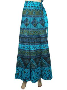 Hippie Wrap Skirt Blue Elephant Printed Gypsy Retro Fashion Long Skirts 40"
