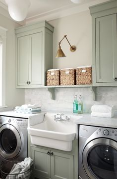 Best 20 Laundry Room Makeovers - Organization and Home Decor Laundry room decor Small laundry room organization Laundry closet ideas Laundry room storage Stackable washer dryer laundry room Small laundry room makeover A Budget Sink Load Clothes Farmhouse Laundry Room, Farmhouse Kitchen Cabinets, Kitchen Cabinet Design, Diy Cabinets, Farmhouse Style, Modern Farmhouse, Kitchen Sink, Farmhouse Ideas, Green Cabinets