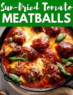 Sun-Dried Tomato Meatballs are one of my favorite homemade cheesy meatballs. This is a low carb meatball that doesn't disappoint on flavor. Tender, juicy, and flavor-packed. #meatballs #sundriedtomatoes #easy #homemade #lowcarb #cheesy