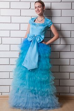 New Blue Tulle Bow Belt Quinceanera Dresses Cake skirt Crystal Beads U-Neck Short Sleeve Long Prom Dresses Sweet 15 Dresses, Prom Dresses Under 100, Cute Dresses For Party, Prom Dresses For Sale, Dresses 2016, Dresses Online, Inexpensive Prom Dresses, Elegant Prom Dresses, Cheap Evening Dresses