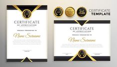 Black and gold premium multipurpose cert... | Free Vector #Freepik #freevector #certificate #abstract #graduation #corporate Green Certificate, Certificate Border, Certificate Of Achievement Template, Certificate Design Template, Award Certificates, Stylish Themes, Award Template, Certificate Of Appreciation, Frame Template