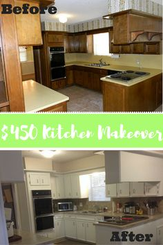 Before and After Kitchen Makeover DIY Kitchen remodel | Painted Countertops…