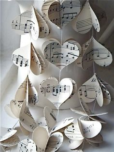 Vintage Music Paper Mobile Hearts Mobile by MaisyandAlice Music Paper, 3d Paper, Paper Toys, Paper Decorations, Wedding Decorations, Decor Wedding, Valentine Decorations, Paper Garlands, Christmas Decorations