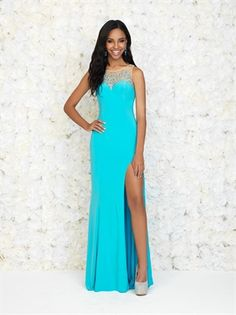 Corset sheer with sexy slit chapel train Prom Dress PD2846