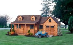 See our 8 x 12 Log Siding Cottage Playhouse with attached Garage. For more quality products, visit Penn Dutch Structures today! Outside Playhouse, Backyard Playhouse, Build A Playhouse, Backyard Playground, Backyard Ideas, Little Girls Playhouse, Playhouse Ideas, Playground Ideas, Outdoor Play