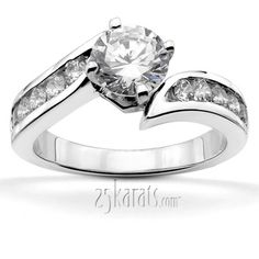 Designer By-Pass Shank Channel Set Diamond Engagement Ring (0.50 ct. tw.)