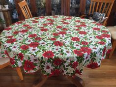 Vintage Round Red & White Poinsettia by ContemporaryVintage