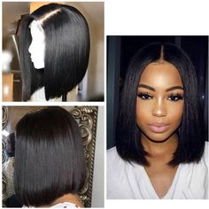 Brazilian Virgin Hair Glueless 360 Lace Wig With Baby Hair Middle Part Natural Black Short Bob Wig for Black Women Human Hair 360 Lace Wig) Curly Bob Wigs, Short Bob Wigs, Short Hair Wigs, Human Hair Wigs, Layered Bob Hairstyles, Hairstyles Haircuts, Hairdos, Thick Hairstyles, Blonde Hairstyles