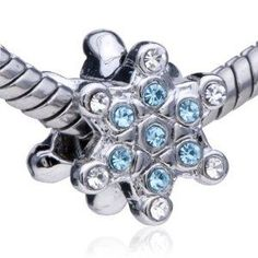 9ce97b0d0 Pugster Snowflake With White And Aquamarine Birthstone Crystal Style  Pandora Bead