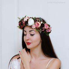 Rose peony flower crown Wedding hair wreath Bridal floral crown Pink white burgundy flower crown Boho wedding Flower headband by ByKochetova on Etsy https://www.etsy.com/listing/492177471/rose-peony-flower-crown-wedding-hair