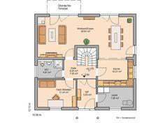 Kern-Haus family house Magnum floor plan ground floor - Home & DIY Small Country Homes, Luxury Cabin, Ground Floor, Interior Design Living Room, House Plans, Home And Family, New Homes, Floor Plans, House Design