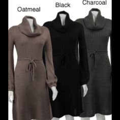 Calvin Klein  Merino Wool Blend Sweater Dress Oatmeal is the color.  Ties at the waist. Cowl neck.  NWOT Calvin Klein Dresses