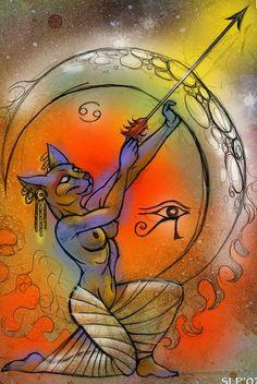 Bastet-Artemis by sarahpaladin on DeviantArt Bastet Goddess, Egyptian Cat Goddess, Egyptian Cats, Egyptian Mythology, Bastet Tattoo, Egyptian Cat Tattoos, African Mythology, Cat Statue, Tatoo Art