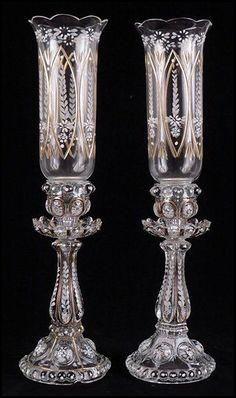RP: Crystal Glass Gilt and Enamel Hurricane Candlesticks. Antique Lamps, Antique Lighting, Cut Glass, Glass Art, Cristal Art, Crystal Glassware, Glass Molds, Porcelain Jewelry, Fine Porcelain