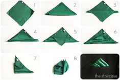 how to fold a staircase pocket square - staircase pocket square - emerald green pocket square