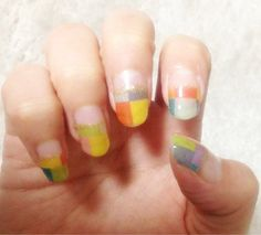 french nail art with masking tapes