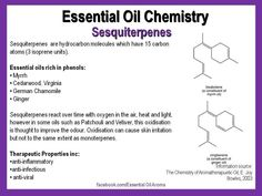 Aroma chemistry - sesquiterpenes // More Info at: http://www.rnoel.50megs.com/pdf/theblood.htm