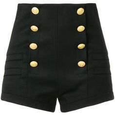 Pierre Balmain high rise sailor shorts ($790) ❤ liked on Polyvore featuring shorts, black, high waisted sailor shorts, sailor shorts, highwaist shorts, high-rise shorts and high-waisted shorts