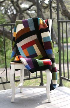 Log Cabin Scrap Blanket-knit