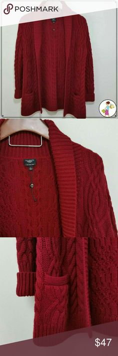 """Talbots Sweatwr Merino Wool Red Cable Knit Open Absolutely gorgeous Like New Talbots 100% Merino Wool cable knit sweater. 2 lower pockets. Ribbed collar, front and cuffs. Size Large Petite. With front pulled evenly together chest straight across at armpits is 21.5"""", body length from shoulder 29"""", shoulder 4"""", sleeve unrolled 24"""", bottom hem 24"""" with center pulled together. Dry clean only. Non smoking home. Open to offers.   GT2. Talbots Sweaters Cardigans"""