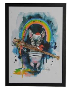Frenchie by Lora Zombie - Framed Print