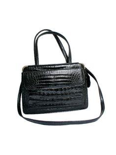 70s  handbag black faux leather croco embossed by lesclodettes
