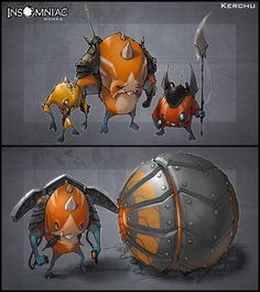 Creaturebox is pretty well known for its, well, creatures. These are finished renders of some critters for Insomniac. The bottom creature has two states, both represented. You may explore that sort of thing in your actions or as an additional illustration for class. It will definitely pump up your portfolio.