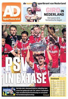 De sportkrant van Nederland meldt het kampioenschap van PSV op de front.