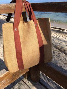 sac caba toile de jute bicolore - produit de Guadeloupe : Sacs à main par cababeach