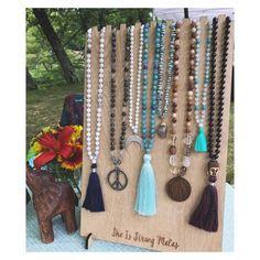Mala Necklace Display w/ Custom Logo- 9 Necklaces {wooden display, lasercut display, custom branded display, craft show display} by lzrbeams on Etsy https://www.etsy.com/listing/537914717/mala-necklace-display-w-custom-logo-9