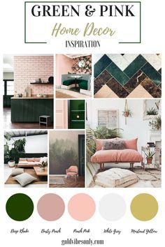 Green and pink interiors and home décor inspiration. How to create the look, trend alert, the new classic colour combination. Brass gold accents.
