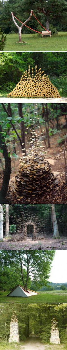 German artist Cornelia Konrads favorite creation in the woods, the theme is always: time and disappearance of gravity stationary.