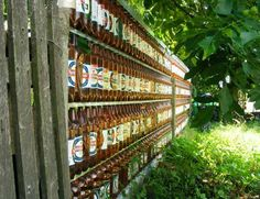 Plastic and Glass Recycling for Fences Built of Empty Bottles, 20 Green Building Ideas Wine Bottle Fence, Bottle Art, Blue Glass Bottles, Empty Bottles, Beer Bottles, Building A Fence, Green Building, Building Ideas, Plastic Glass