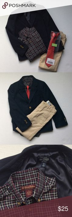 """Sale today ONLY Sz 7 BUNDLE! Perfect go-to outfit! One stop shop right here!  I've bundled a classic navy blazer with gold buttons by Children's Place, sleeve length is 19"""".  Add a pair of khakis by Old Navy, 7 slim AND a Brooks Brothers dress shirt, size S, sleeve length 17.5"""".  Added to the bundle is a brand new, NWT red necktie from Gymboree!! Brooks Brothers Shirts & Tops"""