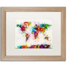 Paint Splashes World Map by Michael Tompsett Framed Graphic Art