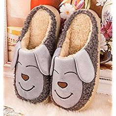 #30 Cartoon Dog Design Warm Winter Indoor Outdoor Slippers for Little Kid