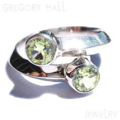 Sterling Silver Peridot Ring Two Green by gregoryhalljewelry