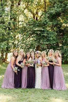 dusty purple and deep plum bridesmaid dresses