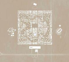 Rak Gateway plan, OMA via archidose Architecture Site Plan, Architecture Graphics, Architecture Visualization, Architecture Drawings, Architecture Portfolio, Urban Concept, Presentation Layout, Architectural Presentation, Site Plans