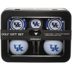 Kentucky Wildcats Two Golf Balls, Two Golf Poker Chip Ball Markers and Divot Tool Gift Set