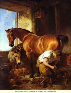 """One of my favorite vintage prints Sir Edwin Landseer, The Farrier """"Shoeing the Bay Mare"""""""